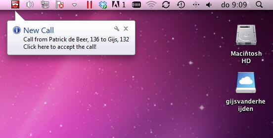 Ballonhint bij inkomende gesprekken Swyx op Mac
