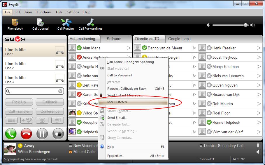 Meeluister functie SwyxIT! monitoring