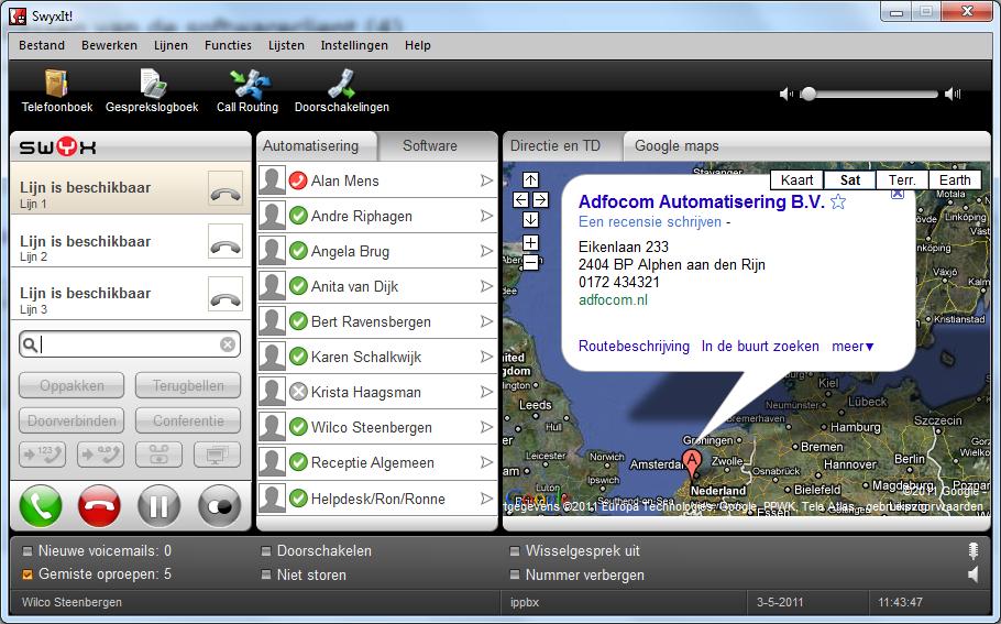 Swyx pro pack webXT met google maps