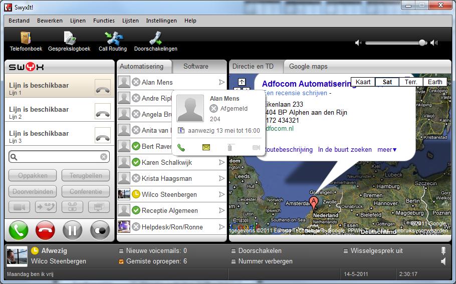 Swyxware 2011 Status tekst instellen - 4
