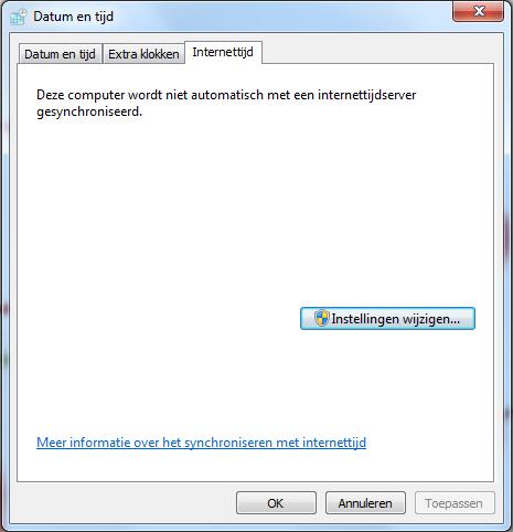 Datum en tijd instellingen tabblad internettijd