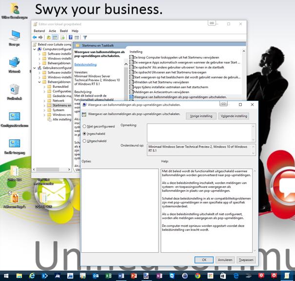 Swyx Windows 10 ballonmeldingen